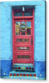 Tucson Barrio Red Door Painterly Effect Acrylic Print