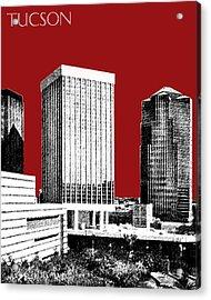 Tucson Skyline 1 - Dark Red Acrylic Print