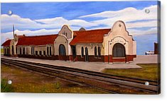 Acrylic Print featuring the painting Tucumcari Train Depot by Sheri Keith
