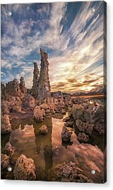 Tufas At Sunset On Mono Lake Acrylic Print by Sheila Haddad