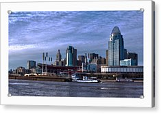 Tug Boat Passing Great American Acrylic Print by Tom Climes