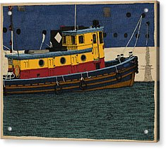 Acrylic Print featuring the drawing Tug by Meg Shearer