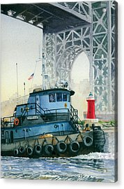 Tugboat And The Little Red Lighthouse Acrylic Print