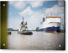 Tugboat Approaching Ferry In Harbour Acrylic Print