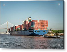 Tugboat Escorts Container Ship Into Acrylic Print