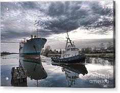 Tugboat Pulling A Cargo Ship Acrylic Print