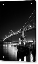 Tugboat Under The Bay Bridge Acrylic Print