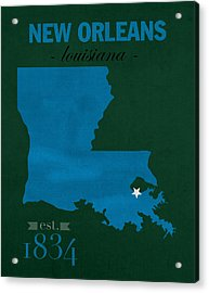 Tulane University Green Wave New Orleans Louisiana College Town State Map Poster Series No 114 Acrylic Print by Design Turnpike