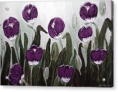 Tulip Festival Art Print Purple Tulips From Original Abstract By Penny Hunt Acrylic Print by Penny Hunt