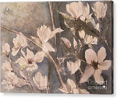 Acrylic Print featuring the painting Tulip Magnolias by Nancy Kane Chapman
