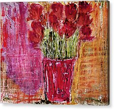 Acrylic Print featuring the painting Tulipes Rouges by Linde Townsend
