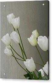 Tulips Against Pillar Acrylic Print by Jean Goodwin Brooks
