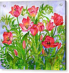 Tulips And Lacy Ferns Acrylic Print