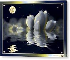 Tulips And Moon Reflection Acrylic Print