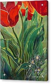 Tulips And Pushkinia Acrylic Print by Anna Lisa Yoder