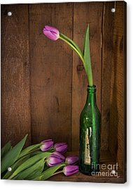 Tulips Green Bottle Acrylic Print by Alana Ranney