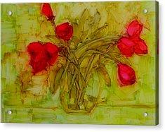 Tulips In A Glass Vase Acrylic Print by Patricia Awapara