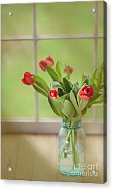 Tulips In Mason Jar Acrylic Print by Kay Pickens