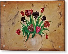 Tulips Of Tuscany 57x41 Acrylic Print by Cindy Micklos