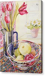 Tulips With Fruit In A Glass Bowl  Acrylic Print by Joan Thewsey