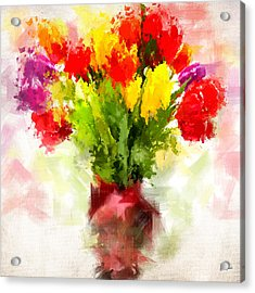 Tulips With Love Acrylic Print by Lourry Legarde
