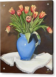 Acrylic Print featuring the painting Tullips In Parrot Pitcher by Sandra Nardone