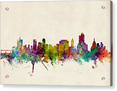 Tulsa Oklahoma Skyline Acrylic Print by Michael Tompsett