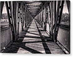 Tulsa Pedestrian Bridge In Black And White Acrylic Print