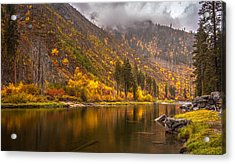 Tumwater Canyon Fall Serenity Acrylic Print by Mike Reid