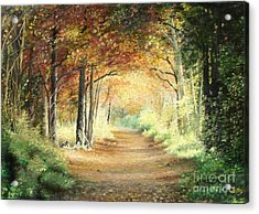 Acrylic Print featuring the painting Tunnel In Wood by Sorin Apostolescu