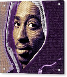Tupac Shakur And Lyrics Acrylic Print by Tony Rubino