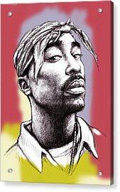 Tupac Shakur Morden Art Drawing Portrait Poster Acrylic Print by Kim Wang