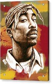 Tupac Shakur Stylised Drawing Art Poster Acrylic Print