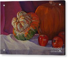 Turban Squash With Fall Friends Acrylic Print