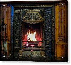 Turf Fire In Irish Cottage Acrylic Print