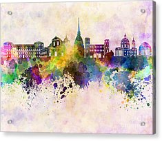Turin Skyline In Watercolor Background Acrylic Print by Pablo Romero