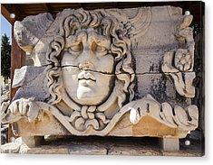 Turkey, Carved Head Of Medusa Acrylic Print by Emily Wilson