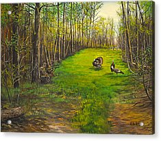 Turkey Hunt With Grandpaw At The Gas Line Acrylic Print by Alvin Hepler