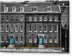 Turquoise Doors At Tower Of London's Old Hospital Block Acrylic Print by James Udall