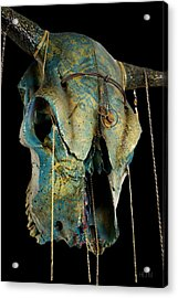 Turquoise And Gold Illuminating Steer Skull Acrylic Print by Mayhem Mediums