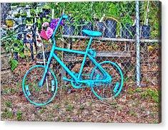 Turquoise Bicycle Acrylic Print by Lorri Crossno