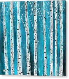 Turquoise Birch Trees II- Turquoise Art Acrylic Print by Lourry Legarde