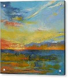 Turquoise Blue Sunset Acrylic Print by Michael Creese