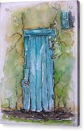Turquoise Door Acrylic Print by Stephanie Sodel