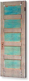 Turquoise Doorway And Ladder To The Sky Acrylic Print by Asha Carolyn Young
