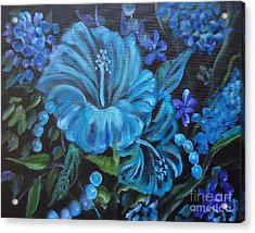 Turquoise Hibiscus Acrylic Print by Jenny Lee