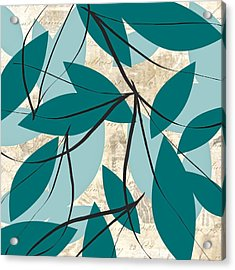 Turquoise Leaves Acrylic Print by Lourry Legarde