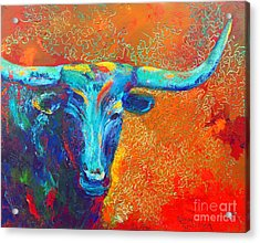 Turquoise Longhorn Acrylic Print by Karen Kennedy Chatham