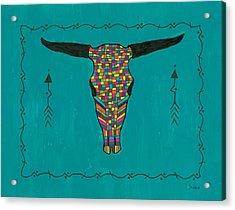 Turquoise Longhorn Skull Acrylic Print
