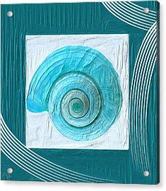 Turquoise Seashells Xvii Acrylic Print by Lourry Legarde
